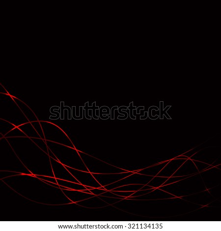 dark background with red lasers waves - template - stock vector