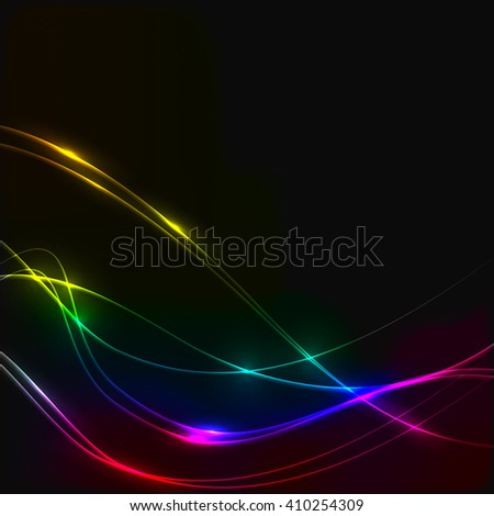 Dark background with spectrum laser shine glow neon waves - stock vector