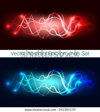 Dark backgrounds of red and blue lines, waves and lights. Abstract textures set of colorful shapes and waves. Wavy vector wallpapers collection for decor and design.