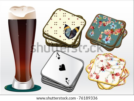 dark beer with coasters vector illustration - stock vector