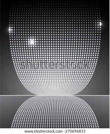 Dark black Abstract light lamps background for Technology computer graphic website internet and business.. Screen on stage. Vector illustration. Spot Effect. neon. point. dot - stock vector