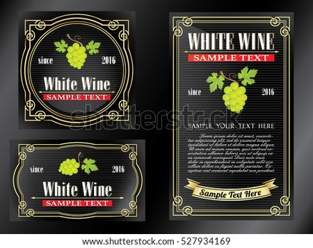 dark black collection of vintage alcohol wine labels with grapes and leaves illustrations