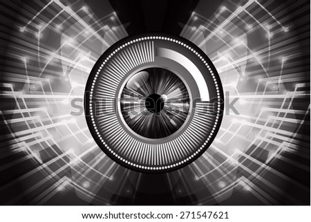 dark black color Light Abstract Technology background for computer graphic website internet and business. circuit. vector illustration. wave. eye. eyeball