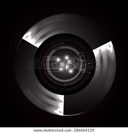 dark black color Light Abstract Technology background for computer graphic website internet and business. circuit. vector illustration. infographics. spark, sparkle - stock vector