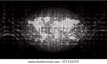 dark black color Light Abstract Technology background for computer graphic website internet and business.circuit.illustration.digital.infographics.binary code. www.vector.motion move blur. World map