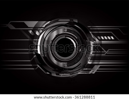 dark black Light Abstract Technology background for computer graphic website internet and business. circuit. illustration.digital.infographics. binary code. zero one. vector.eye - stock vector