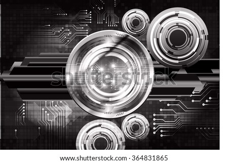 dark black Light Abstract Technology background for computer graphic website internet and business. circuit. illustration.digital.infographics. binary code. zero one. eye - stock vector