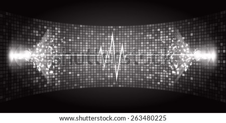 Dark black Sound wave background suitable as a backdrop for music, technology and sound projects. Blue Heart pulse monitor with signal. Heart beat. - stock vector