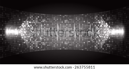 Dark black Sound wave background suitable as a backdrop for music, technology and sound projects. Heart pulse monitor with signal. Heart beat. - stock vector