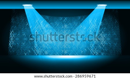 Dark blue Abstract light lamps background for Technology computer graphic website internet and business.. Screen on stage. Vector illustration.Spot Effect. neon. point, platform, Spotlights - stock vector