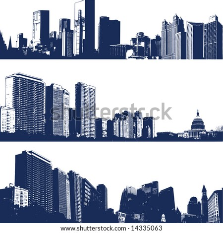 Dark Blue and white panorama cities. - stock vector
