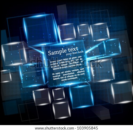 Dark blue background with cubes and lights - stock vector
