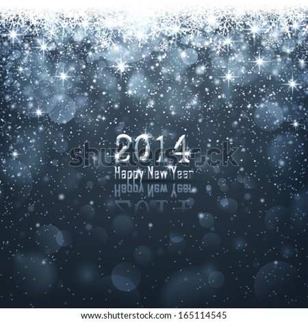 Dark blue background with falling snowflakes