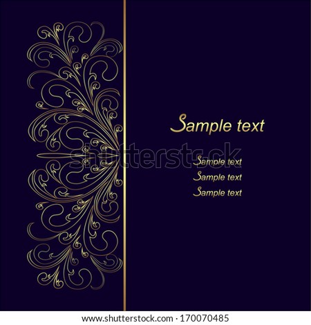 Dark blue Background with  golden lacy Border. - stock vector