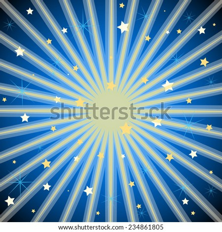 Dark blue background with stars and radiating light rays.