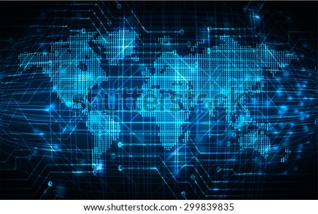 dark blue color Light Abstract Technology background for computer graphic website internet and business.circuit.illustration.digital.infographics.binary code. www.vector.motion move blur. World map - stock vector