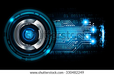 Dark blue color Light Abstract Technology background for computer graphic website internet and business.circuit.vector illustration.infographics. motion move.neon. pixel, eye - stock vector