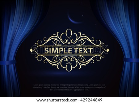 Dark blue curtain scene gracefully. Cover with vertical motion blur and text. Like curtains in theater. Elegance vector backdrop with vintage sign - stock vector