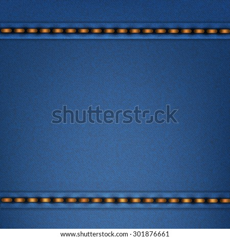 Dark blue denim texture with seams.Vector illustration. - stock vector