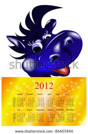 Dark blue dragon-New Year's a symbol of 2012.2012 Calendar - stock vector