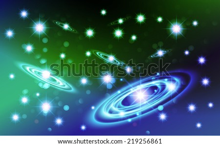 Dark blue green sparkling background with stars in the sky and blurry lights, illustration. Abstract, Universe, Galaxies, ring.  - stock vector