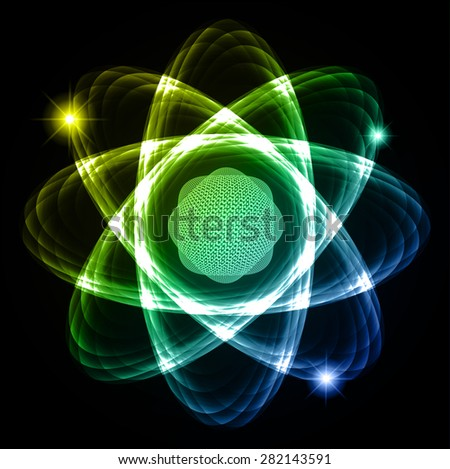 Dark blue green yellow Shining atom scheme. Vector illustration. dark background. digital. infographics. Abstract Technology background for computer graphic website internet and business. circuit. - stock vector