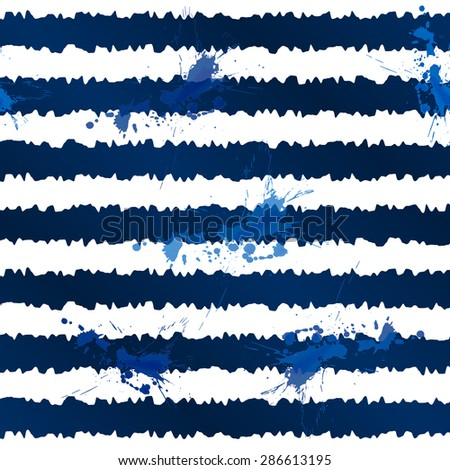 Dark blue ink stripes and splashes vector seamless pattern - stock vector