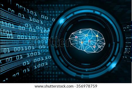 Dark blue Light Abstract Technology background for computer graphic website internet business. circuit. vector illustration. infographics. motion .neon. Brainstorm, Brain. Bulb Ideas. scan virus - stock vector