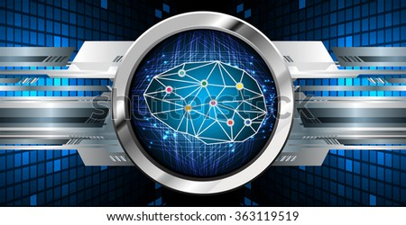 Dark blue Light Abstract Technology background for computer graphic website internet business, circuit, vector illustration, infographics, motion move blur, neon. Brainstorm, brain, bulb Ideas - stock vector