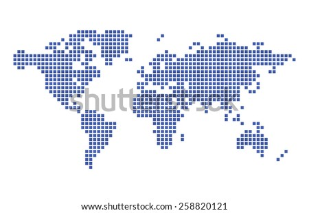 dark blue map of world - vector squares - stock vector