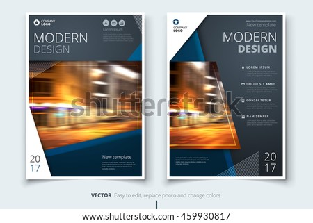 Dark Blue Modern Brochure Design Corporate Stock Vector 459930817
