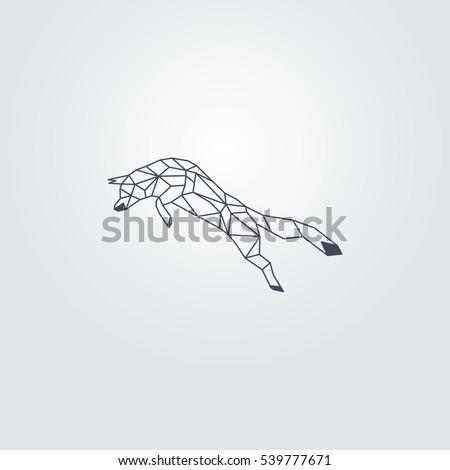 Dark Blue Origami Fox Vector Design Grey Background
