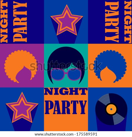 dark blue party poster - stock vector