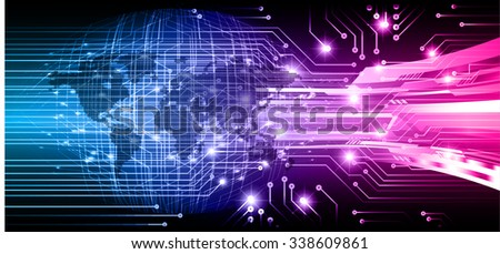 Dark blue pink Light Abstract Technology background for computer graphic website internet and business.circuit.vector illustration.infographics. motion move.neon. pixel, Padlock, World Map, Global - stock vector