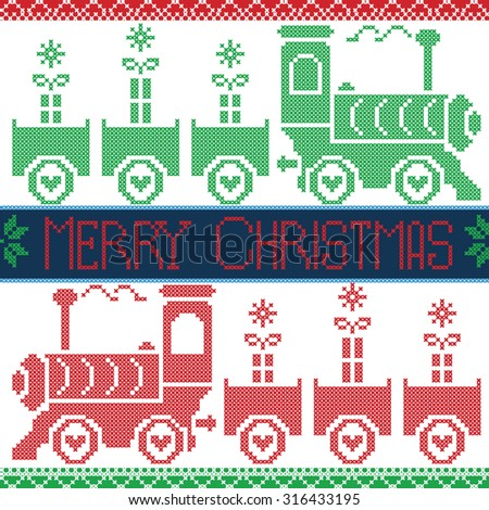 Dark blue, red and green Merry Xmas  Scandinavian Christmas Nordic Seamless Pattern with gravy train, gifts, stars, snowflakes, hearts, snow, in cross stitch pattern  - stock vector