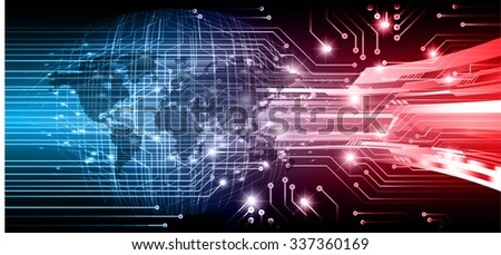 Dark blue red Light Abstract Technology background for computer graphic website internet and business.circuit.vector illustration.infographics. motion move.neon. pixel, Padlock, World Map, Global - stock vector