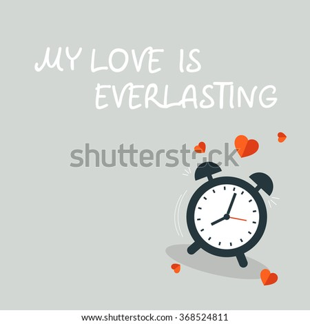 dark blue Ringing clock on light grey background with red hearts - stock vector