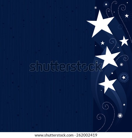 Dark blue stars background - stock vector