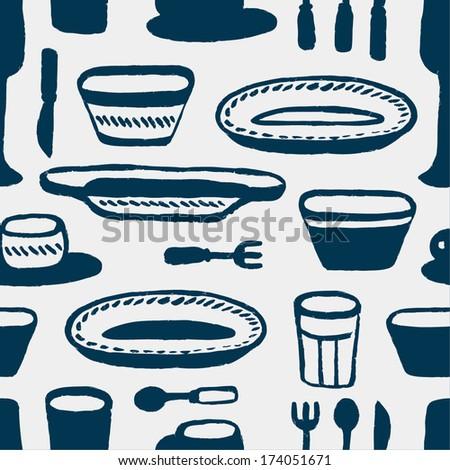 dark blue tableware seamless pattern - stock vector