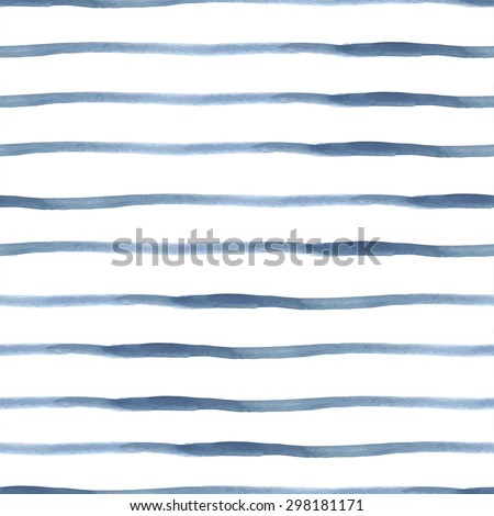 Dark Blue Vector Abstract Watercolor Seamless Striped Pattern, vector illustration - stock vector
