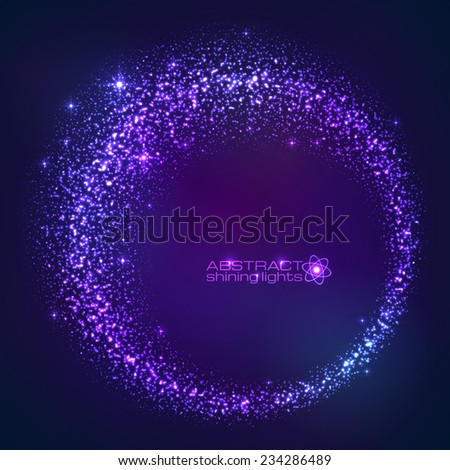 Dark blue vector star dust magic round frame - stock vector