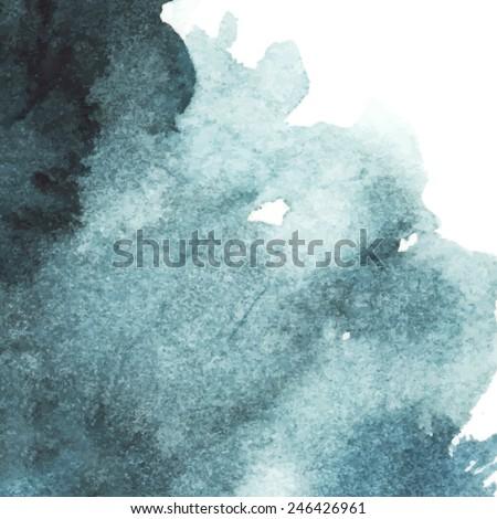dark blue watercolor abstract background/ spot/ indigo/ vector illustration - stock vector
