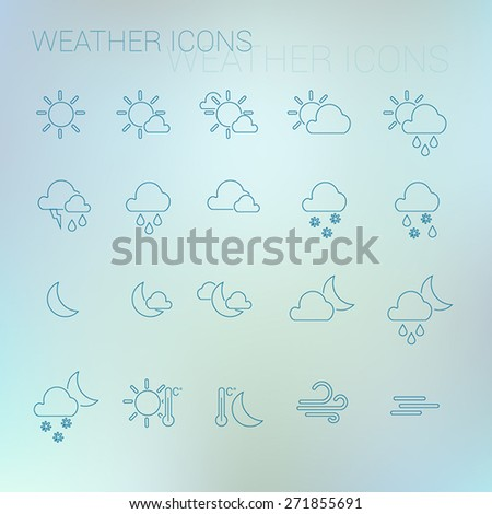 Dark blue weather icon set with light blurred background