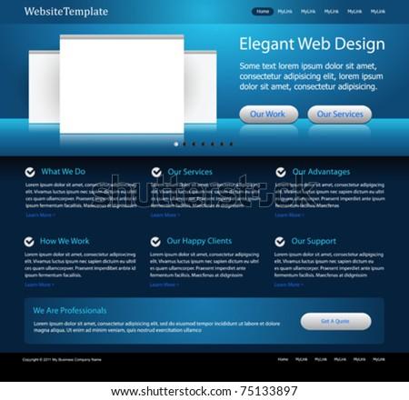 dark blue website design template - stock vector