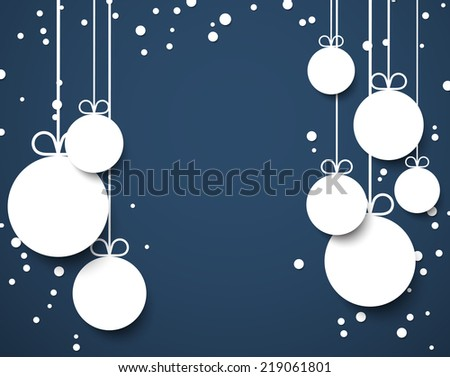 Dark blue winter abstract background with flat paper christmas balls. Vector illustration.  - stock vector