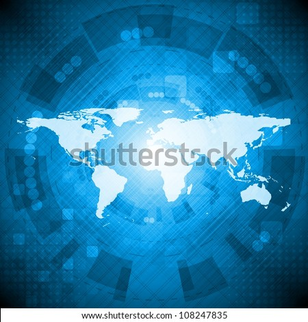 Dark bluetechnology background with world map. Vector illustration eps 10