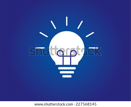 dark bright white colorful simple glowing idea solution light bulb with blue background - amazing innovative successful glowing lightbulb concept - stock vector