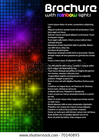 Dark brochure with rainbow lights - stock vector