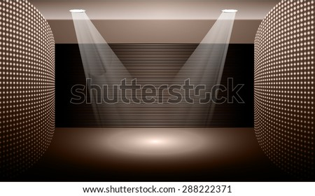 Dark brown Abstract light lamps background for Technology computer graphic website internet and business.. Screen on stage. Vector illustration.Spot Effect. neon. point, platform, Spotlights - stock vector