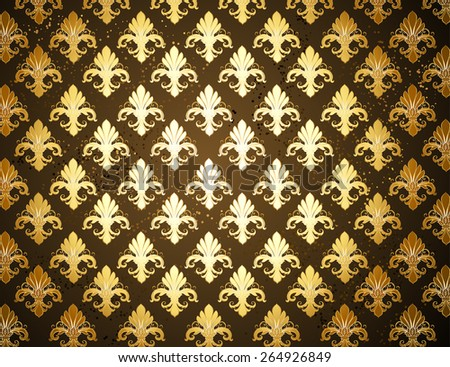 dark brown background with gold, shiny  Fleur de Lis
